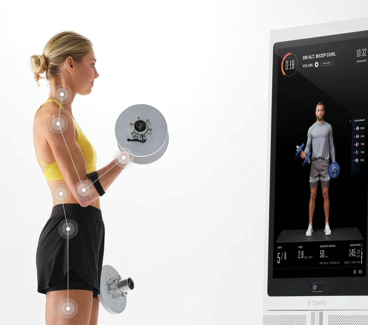 The system can capture the users form, offering suggestions on how to improve technique and make workouts safer and more efficient / Tempo