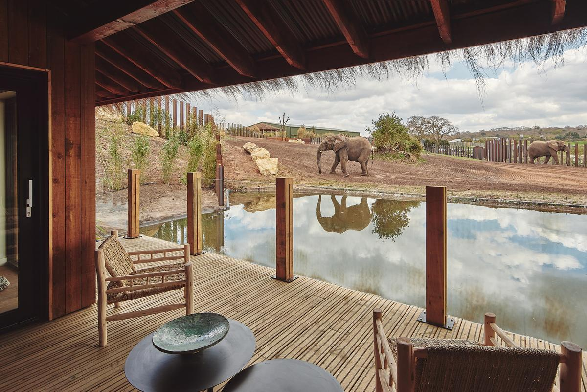 The elephant lodges accommodate up to five people.  / West Midlands Safari Park