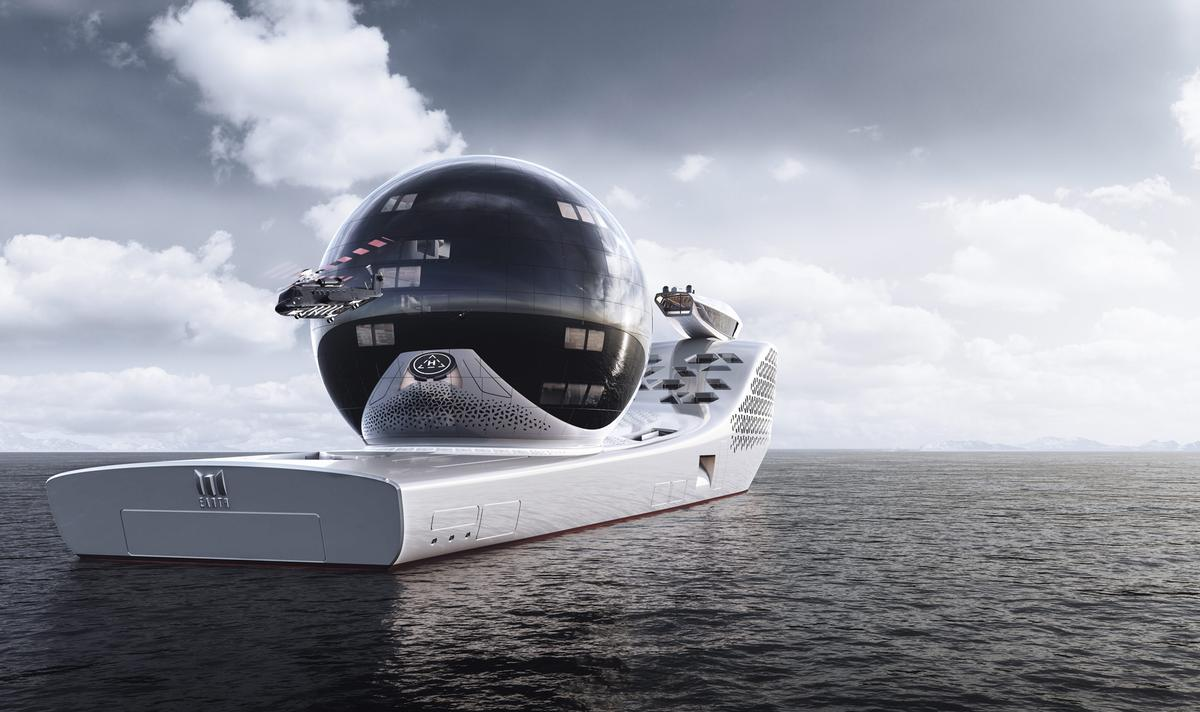 The research vessel will feature a 13-storey Science Sphere, housing 22 laboratories / Earth 300