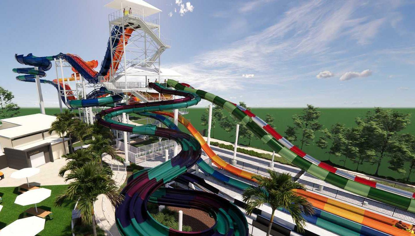 More than 23m tall, the Kaboom! combines three rides in one / Village Roadshow
