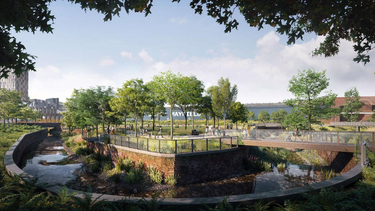 First glimpse of Manchester's new urban park by Studio Egret West