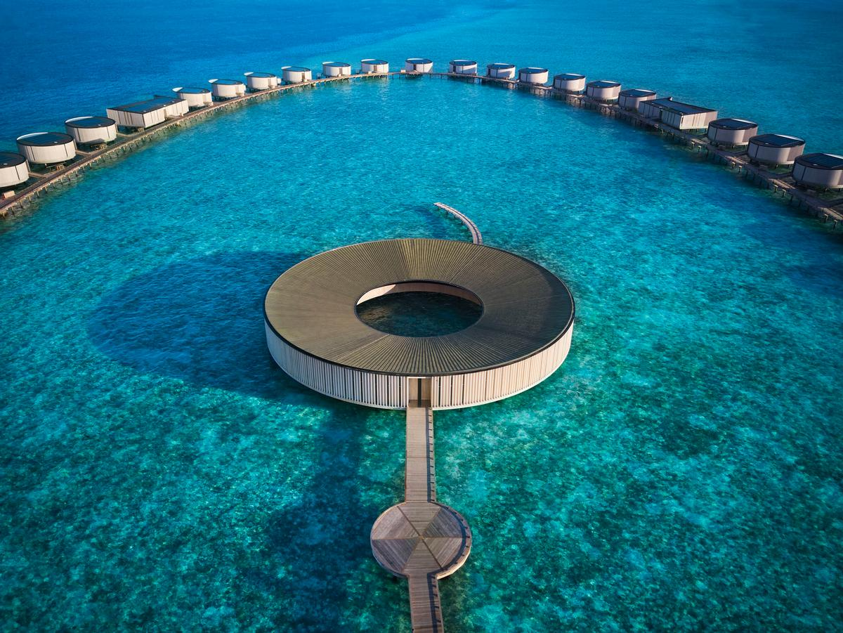 The circular spa was designed by award-winning Kerry Hill Architects and offers treatments by sustainable and holistic wellness brand Bamford / The Ritz-Carlton Maldives, Fari Islands