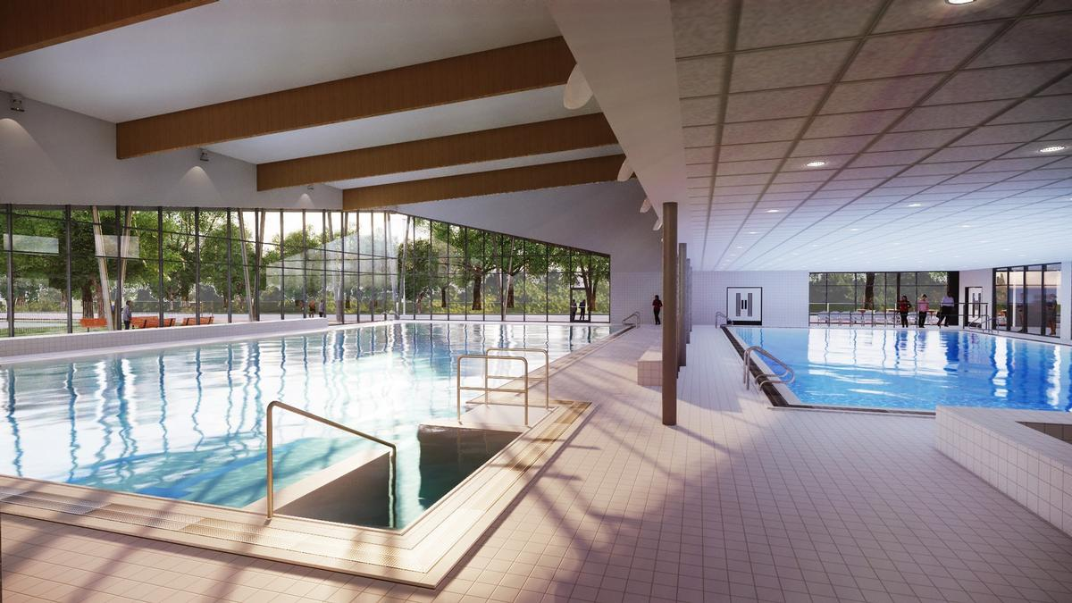 Facilities include a six-lane, 25m pool and a 20m training pool with moveable floor / Places Leisure