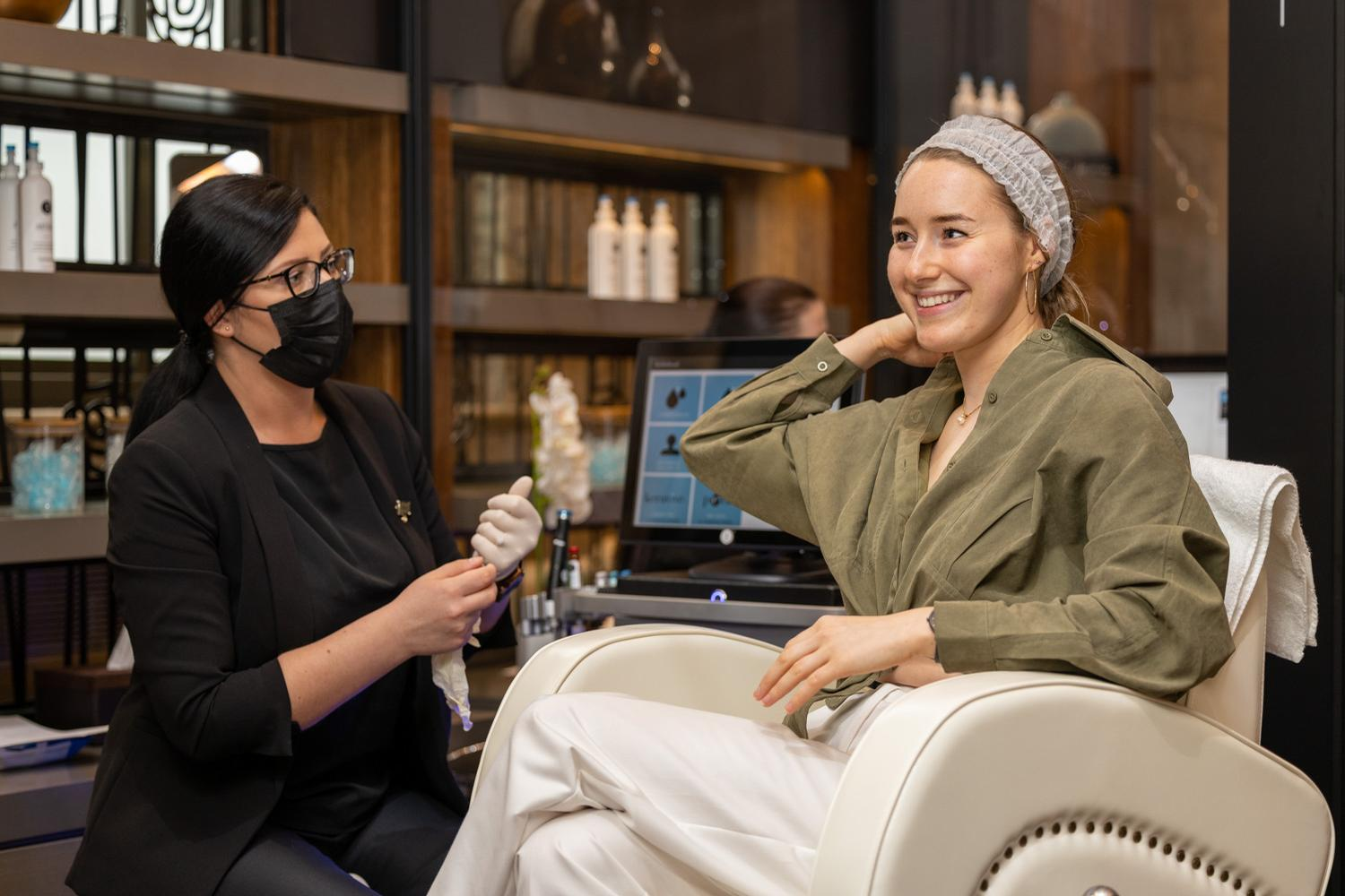 A happy guest after experiencing their first HydraFacial at Sofitel London St James / HydraFacial, 2021