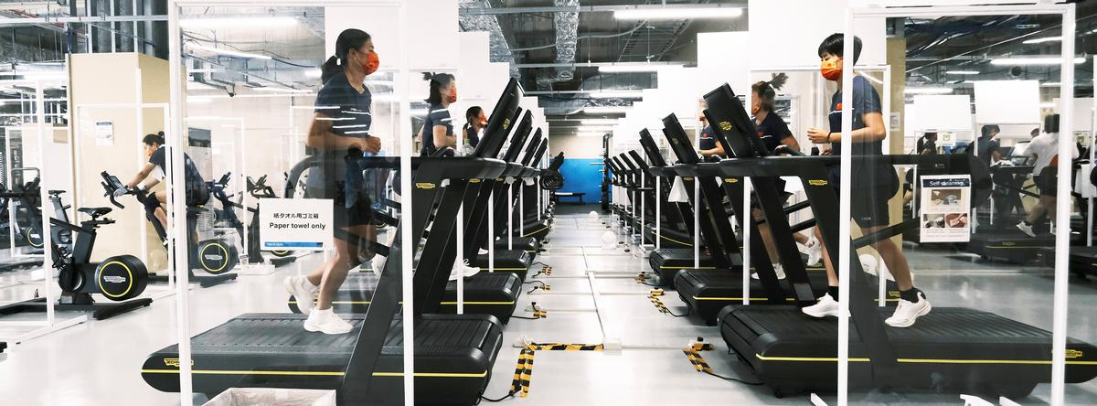 All facilities are socially distanced to safeguard the athletes and their coaches / Technogym