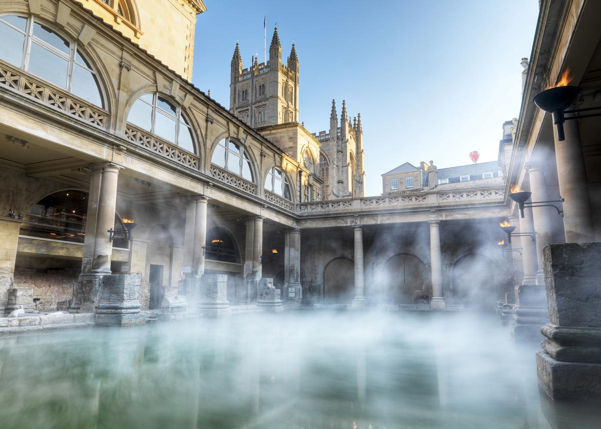 The city of Bath in South West England was originally founded by the Romans who used the natural hot springs as a thermal spa / Bath_North East Somerset Council