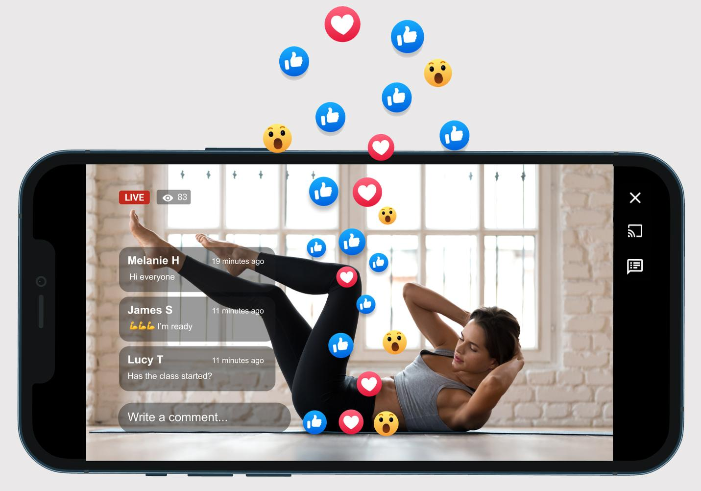 Emoji storms give members the opportunity to interact during workouts without having to type / myFitApp