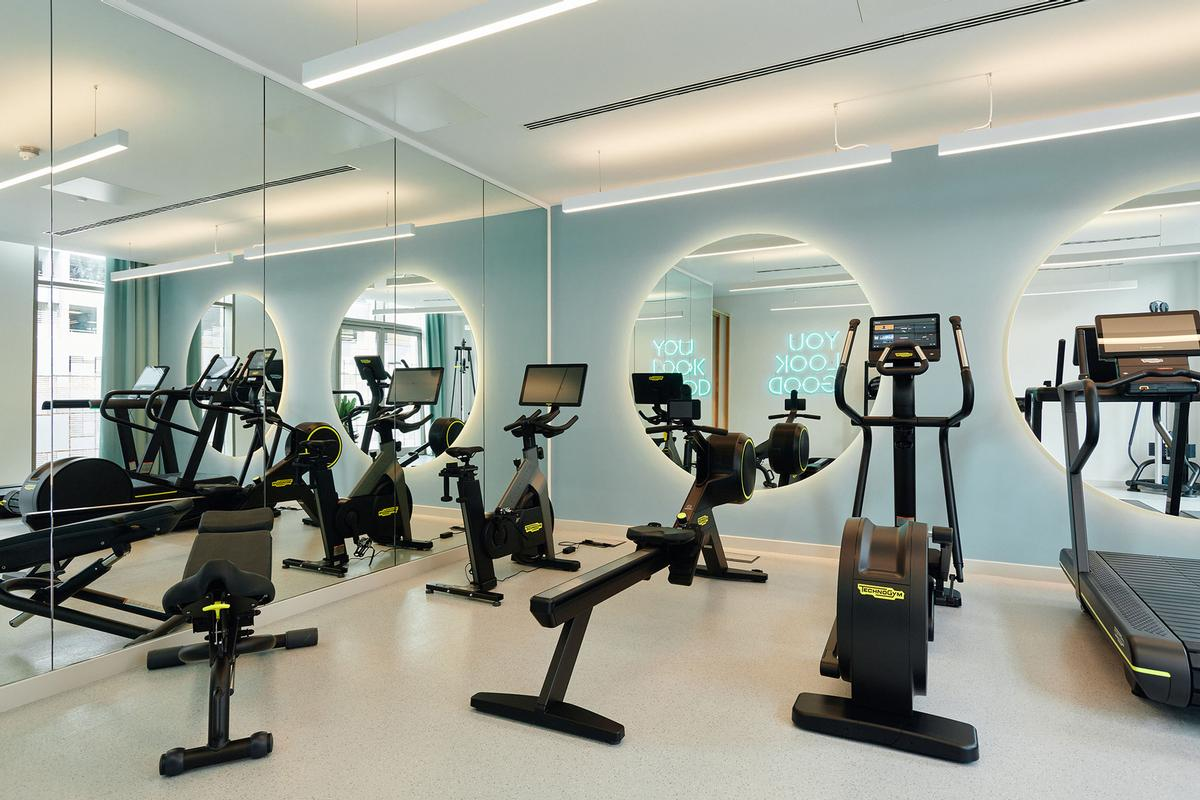 The property features a 24-hour health club and wellness studio / Grainger