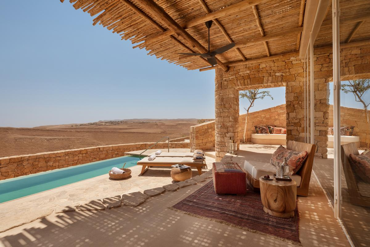 The 60-key resort comprises suites and villas complete with interiors inspired by patterns and textures lining the ancient Incense Route / Six Senses Shaharut