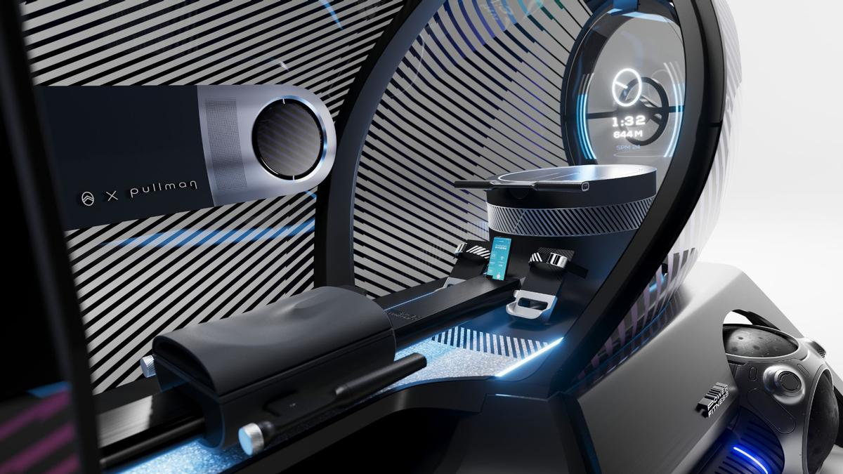 Designed for a single exerciser at a time, the pod features a rower on one side and a static bike on the other / Citroen