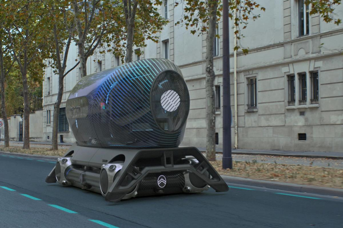 The gym pod is mounted on The Citroën Skate, a self-driving electric vehicle / Citroen