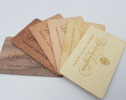 The eco- key cards can be customised with a range of materials and designs