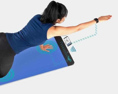 The mat uses artificial intelligence to automatically recommend personalised wellness programmes based on the user's history, current limitations and future goals