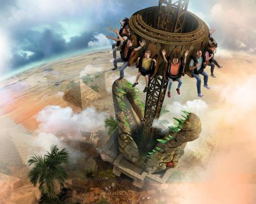 Supplied by SBF Visa, the theming of the tower drop will be based on Egyptian myths / Merlin/Chessington World of Adventures