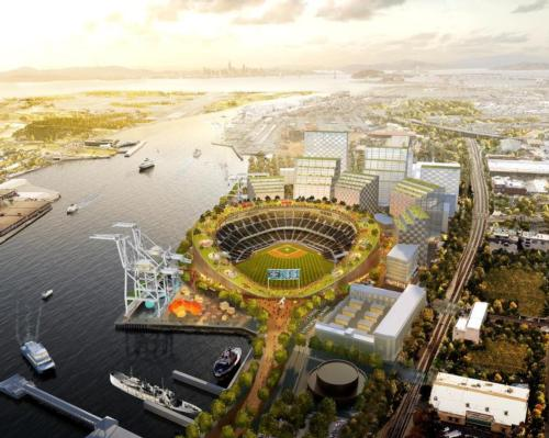 The 35,000-venue will anchor the Oakland Ballpark Waterfront District Project / Bjarke Ingels Group