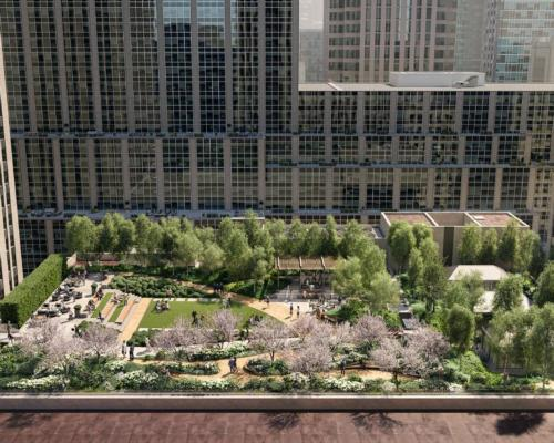 The roof garden and park will be linked to the Rockefeller Center via a pedestrian bridge / G3 Architecture Interiors Planning/NYC Landmarks Preservation Commission