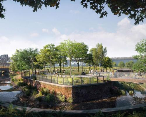 The new 6.5-acre green space will be the 'jewel in the crown' of the transformational Mayfield regeneration project / Studio Egret West/Mayfield Park