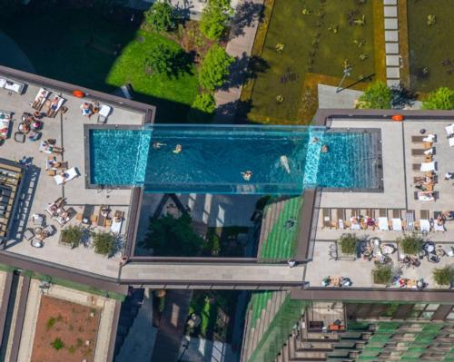 The 25m pool is suspended 35m above the ground / Embassy Gardens