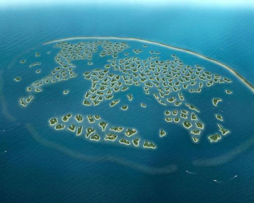 The World Islands is a man-made archipelago located four kilometres off the coast of Dubai featuring 300 islands constructed into the shape of six continents on a world map which can be seen from space