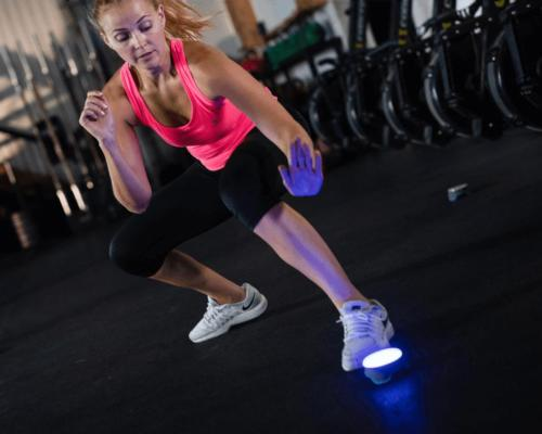 The interactive training aid develops speed and strength using visual cues