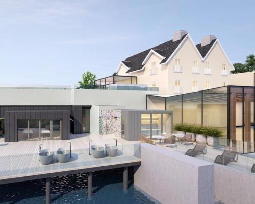 The refurbishment has extended the spa's existing outdoor area to encompass new bathing and thermal experiences as well as ample relaxation space looking across the River Mayo