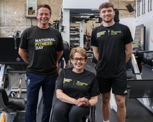 Tanni Grey-Thompson (centre), with Nigel Huddleston (left) and Team GB's gold-winning diver Matty Lee (right)launched National Fitness Day at Jubilee Hall Gym on 22 September