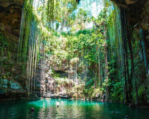 Seen as a healing force in Mayan culture, cenotes are large sinkholes or caves filled with water found throughout Mexico's Yuctan peninsula