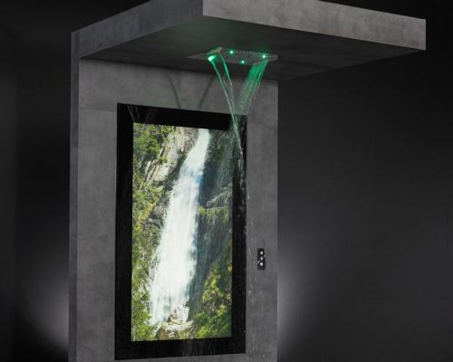 With the activation of the shower programmes, corresponding nature visuals start simultaneously on the screen