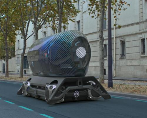 The gym pod is mounted on The Citroën Skate, a self-driving electric vehicle