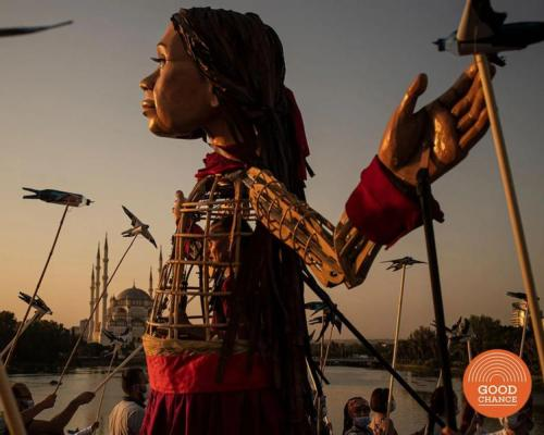 The puppet is an artistic project, representing all young refugees