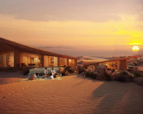 A rendering of the project's upcoming Six Senses Southern Dunes, The Red Sea resort