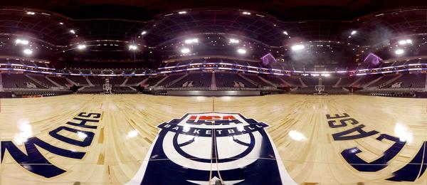 The VR footage shows fans how the game looks from a USA Basketball player's perspective