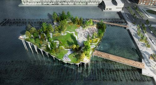 The Pier will replace Pier 54, which greeted the survivors of the Titanic Disaster who sailed in on the Carpathia in 1912. / Pier55, Inc / Heatherwick Studio
