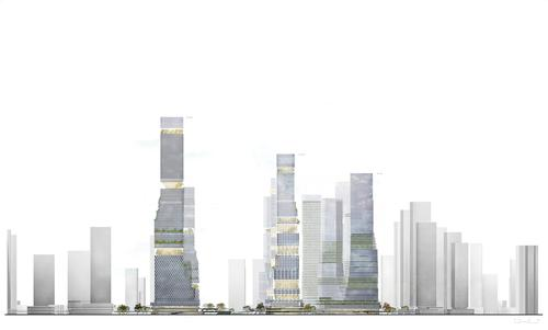 A two-level plinth will connect the towers, the walkway and the park with the urban setting / Mecanoo