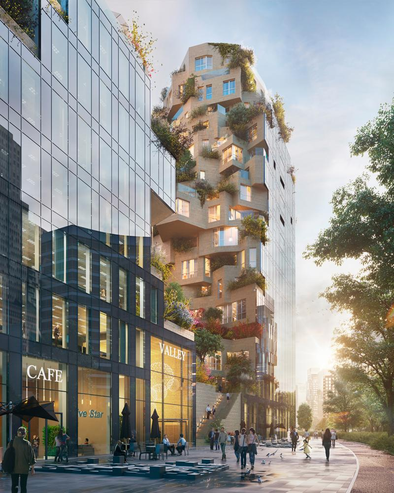 The purpose of the development, set for completion in 2021, is to transform the commercial district into a more liveable and complete urban quarter / MVRDV