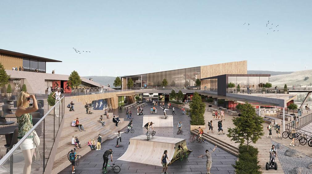 The central plaza will provide guests with a place to meet and socialise