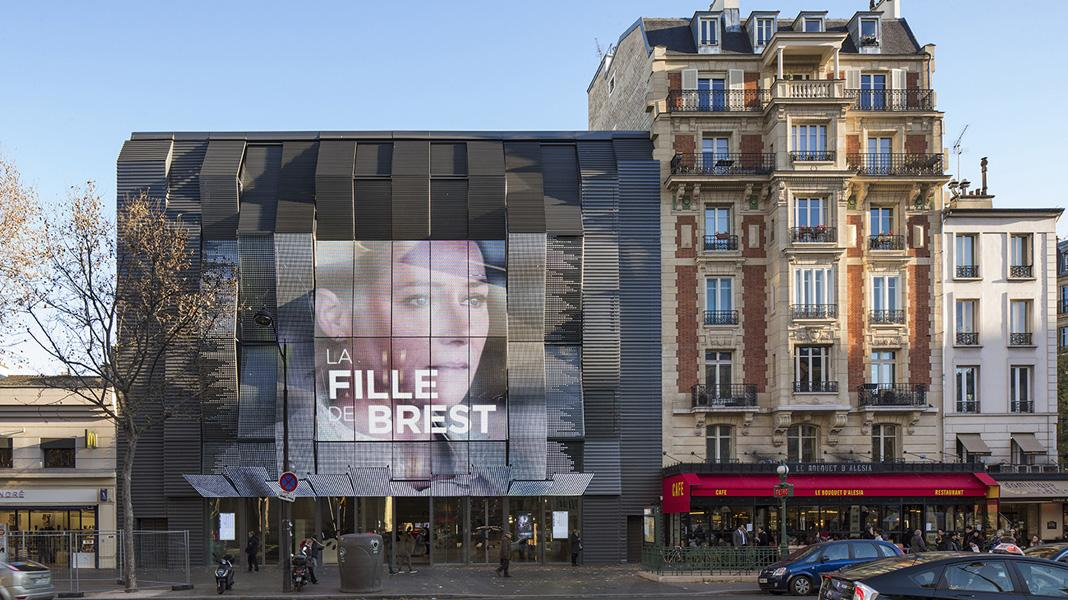 gautrand recently restored the historic Gaumont-Alésia cinema in Paris into a cultural hub with an eye catching 'pixelated' LED facade / Courtesy of Manuelle Gautrand Architecture