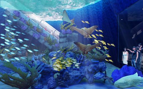 The aquarium will be a part of the larger 35 acre Odysea area in the Desert leisure complex / Odysea Aquarium