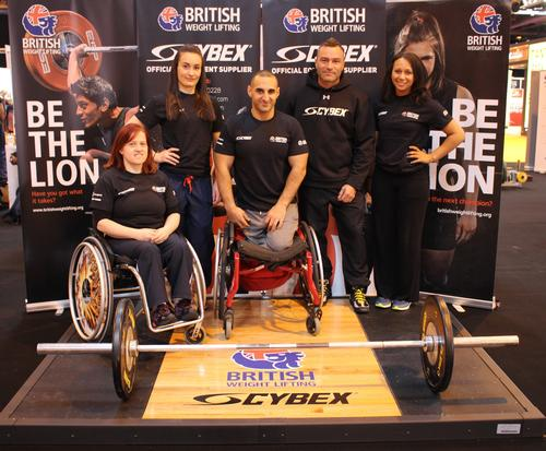 (L-R) British weightlifters Natalie Blake, Sarah Davies, Ali Jawad, Cybex UK commercial director Rob Thurston and Zoe Smith