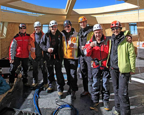 The team worked eight hour days with 40 per cent oxygen during the four month windows the mountain allowed