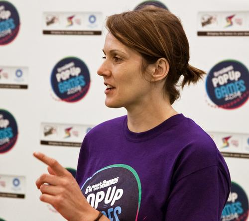 Commonwealth champion Kelly Sotherton at the launch of the project