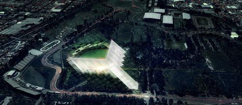 The stadium is expected to open as the focal point of the Magdalena Mixhuca sports complex in June 2017 / JAHN & ADG