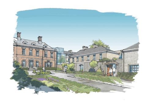 The new cloister of bedrooms wings will echo the fabric of the town and a new guestroom extension to the original building will be styled as in the 18th century vernacular / ReardonSmith