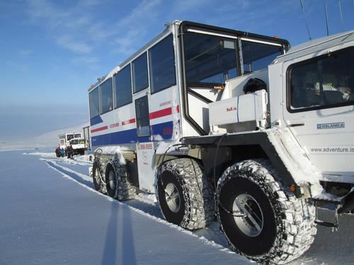 An ex-NATO, eight wheel drive missile launcher, converted and adapted to transport up to 40 people at a time takes visitors to the glacier / IceCave