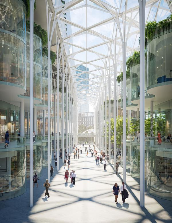 Peninsula Place's 80ft-high Galleria will feature a range of pavement cafés, shops and restaurants