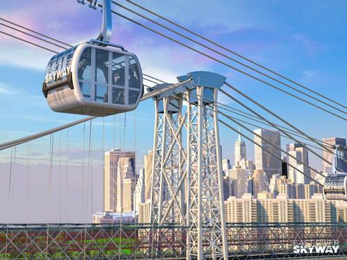 A rendering shows the proposed East River Skyway gondola above the New York City skyline / East River Skyway
