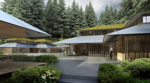 Kuma's new complex will sit outside the entrances of the five existing gardens / Kengo Kuma & Associates
