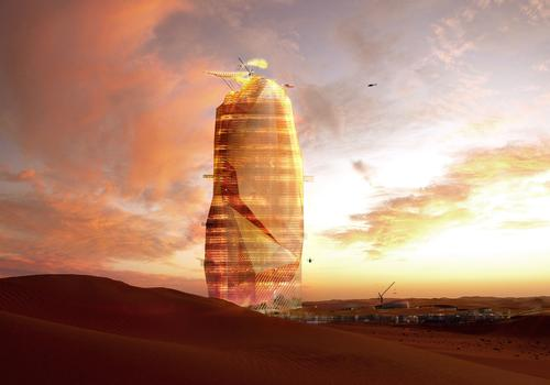 OXO's 450m high tower has been designed to be self-sustaining / Manal Rachdi Oxo Architects + Nicolas Laisne Associes
