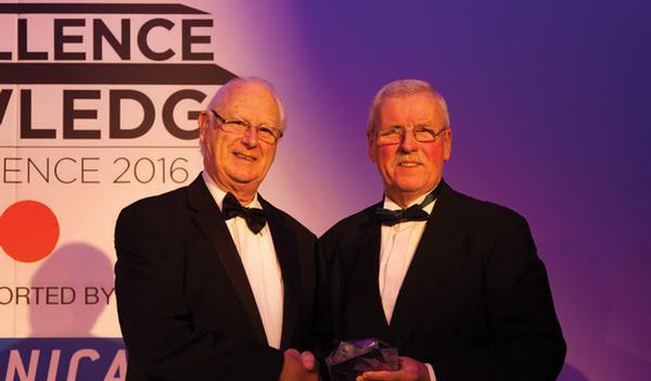 Brian Spencer (left) from Envirostik won the SAPCA achievement award