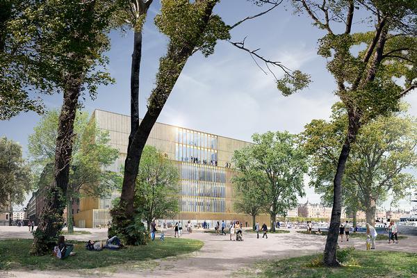 Chipperfield's Nobel Center in Stockholm is clad in bronze vertical fins